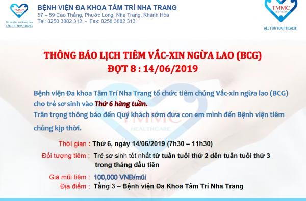 THÔNG BÁO LỊCH TIÊM VACXIN NGỪA LAO CHO TRẺ SƠ SINH NGÀY 14/06/2019